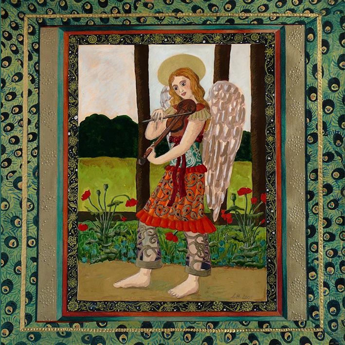 Engel spazieren, Geige, spielen, Mohnblumen, gehen, Schutzengel, Freude, Liebe,
