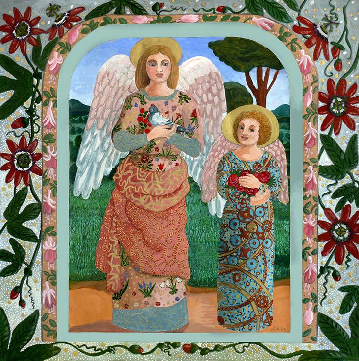 Engel, Schutzengel, Freude, Liebe, Friede, Blumen, Natur, zwei engelchen,