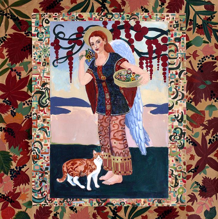 Engel, Katze, Katzenschutzengel, Schutzenge, Tiere, Herbst, Jugendstil, art Deco
