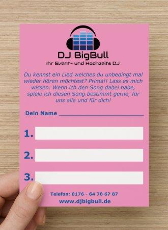 Musikwunschzettel Firmenfeier DJ