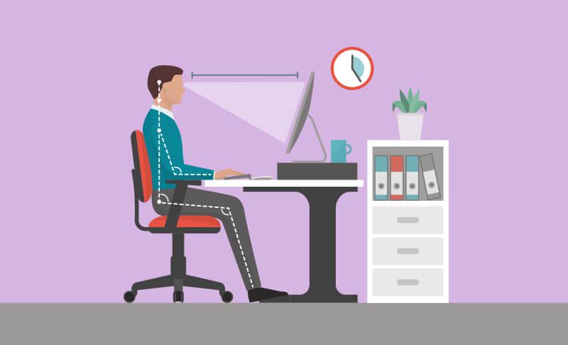 ergonomía en la oficina. posición correcta