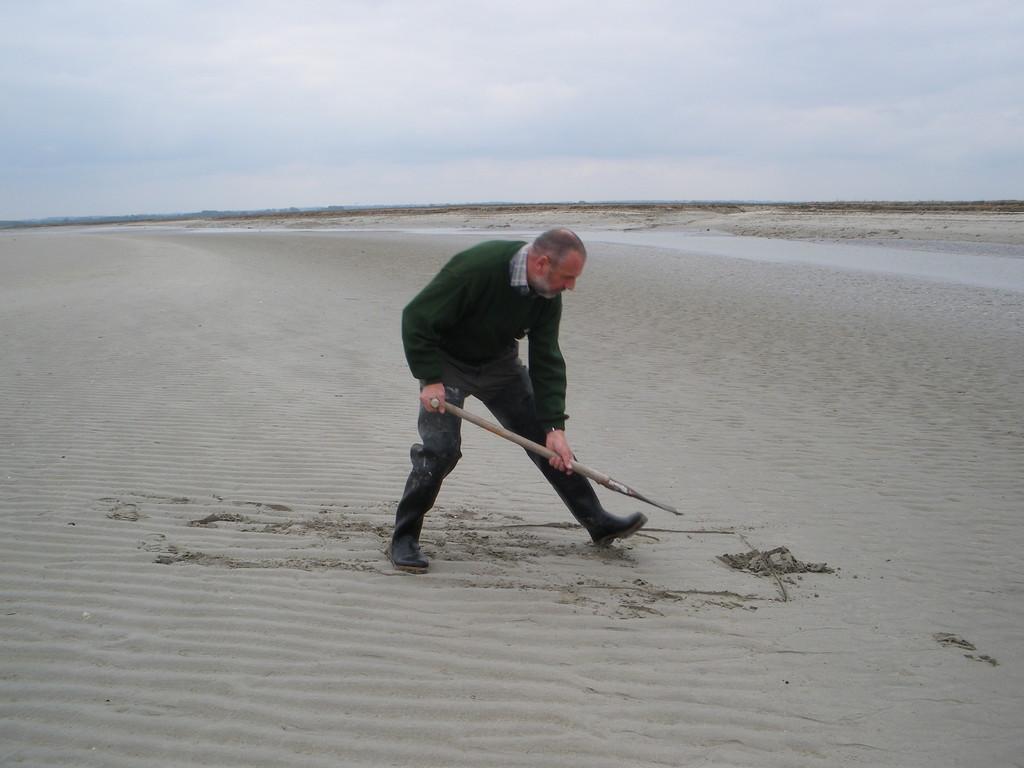 Traçage du trou avec le tranchant de la bêche