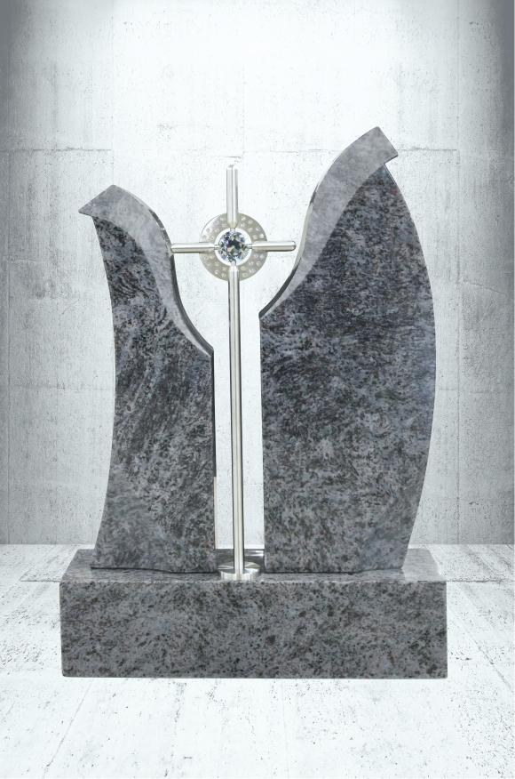 Grabstein Indisch Black, Marina Blue inklusiv Kreuz