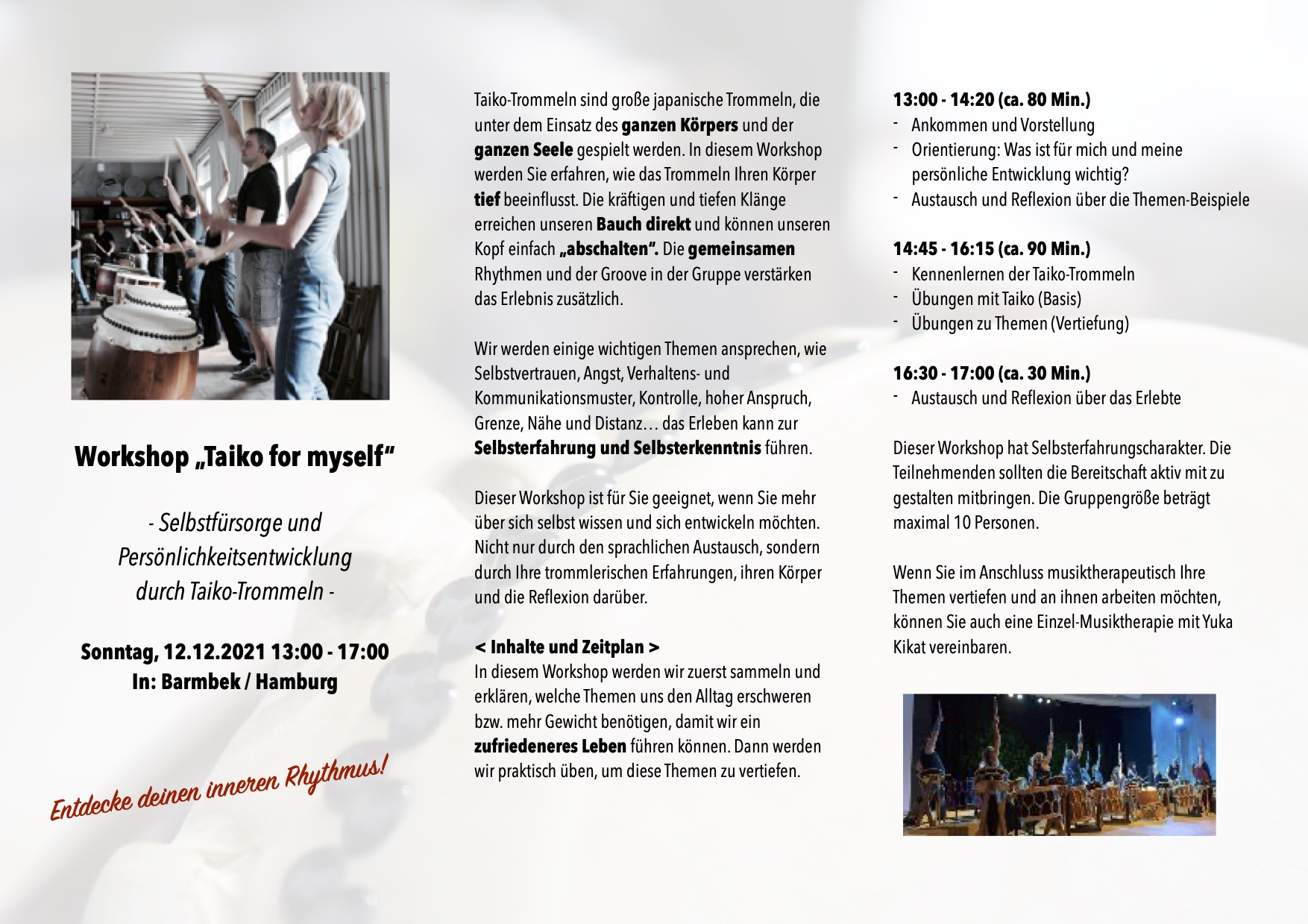 "Workshop ""Taiko for myself"" 12.12.2021"