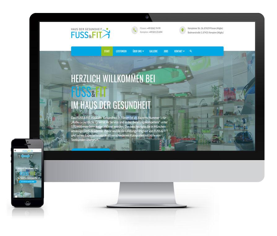 WEBSITE Fuss & Fit aus Füssen und NEU in Kempten