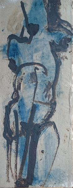tekening met oxide op klei (h 52 cm)