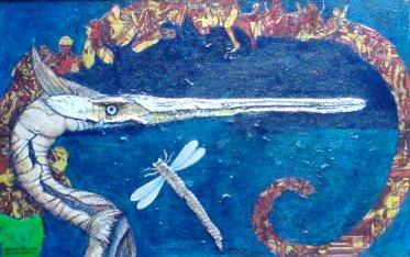 PURPURREIHER BEI NARBONNE   Mischtechnik auf Schlangenhaut und Kork - 35,5 x 56 cm