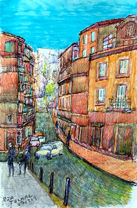 aus meinem Skizzenbuch: LISBOA, RUA TELHAL    Mischtechnik auf Papier - 28 x 20cm