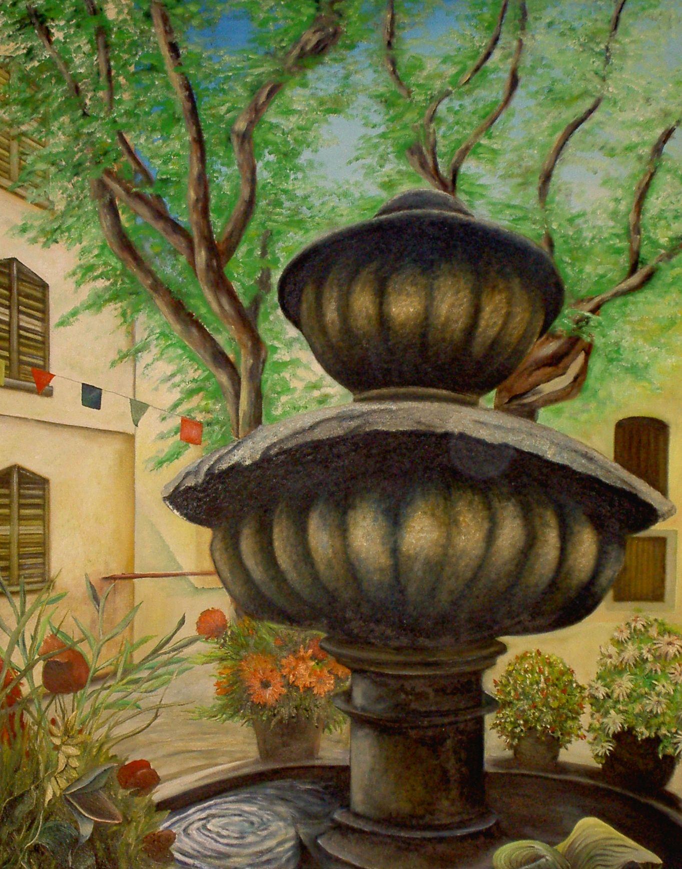 BRUNNEN IN SEILLANS       Öl auf Leinwand - 100 x 80 cm