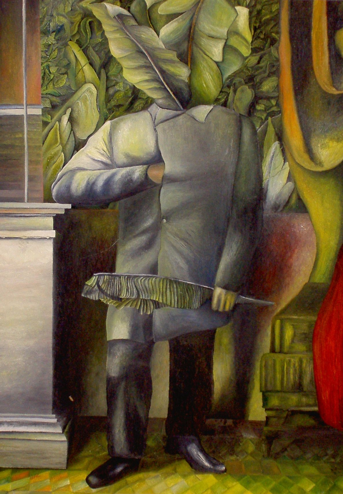 LAGO MAGGIORE: HOMME VEGETAL     Öl auf Spanplatte - 70 x 50 cm