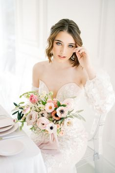Bouquet de mariée romantique minimaliste
