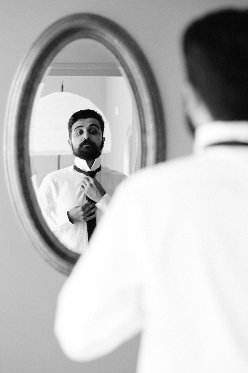Préparation marié miroir mariage