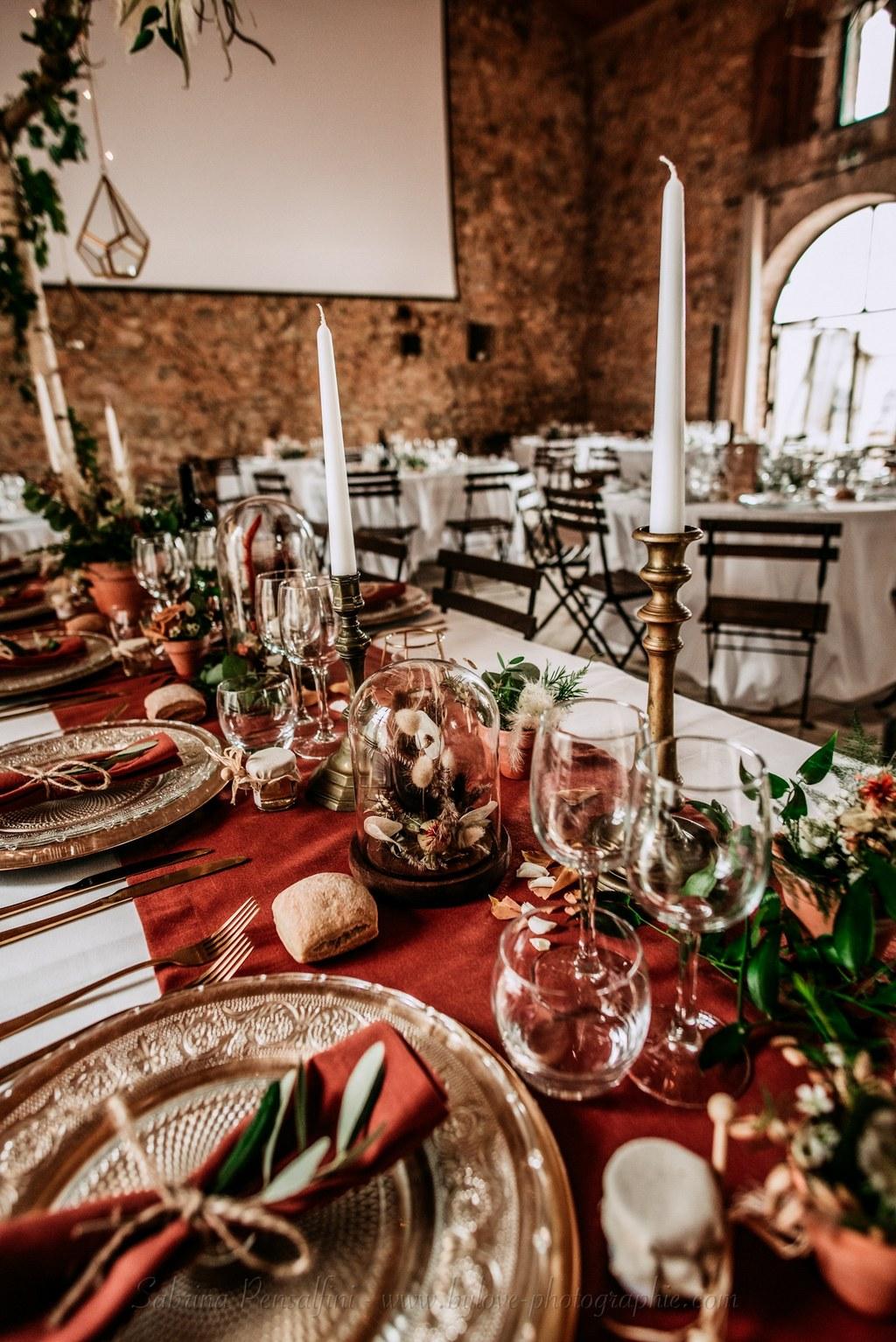Décoration table d'honneur mariage terracotta champêtre chic