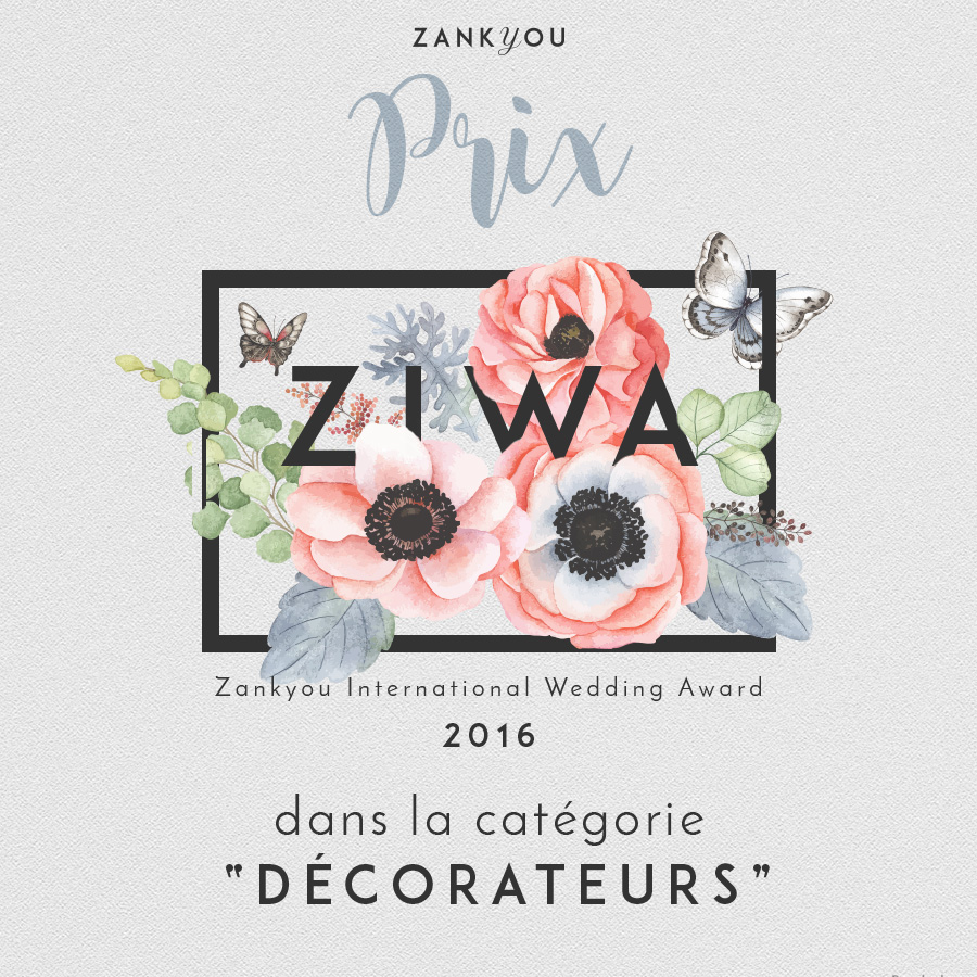 ZIWA 2016 Zankyou Prix décoration mariage wedding planner Languedoc Roussillon french decorator wedding planner