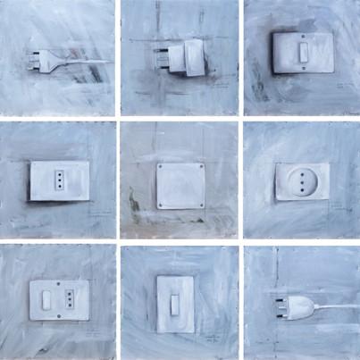 Mauro Bendandi Elettrico>Allestimento Olio su lamiera * 92 x 92 cm * 2006