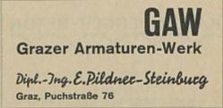 Eine Annonce der GAW in einer Festschrift des GAK
