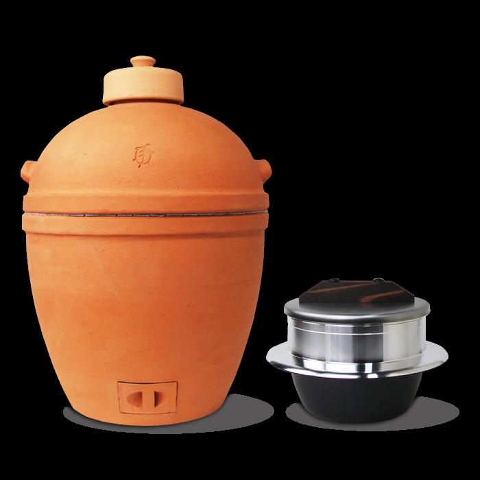 小田式ミニ蒸しかまど大・赤焼き&3合炊き羽釜の組合せセット