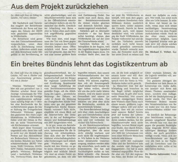Wetterauer Zeitung, 13. Oktober 2020