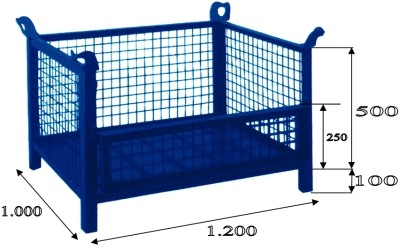 Cestón malla 1200 x 1000 con lateral abatible