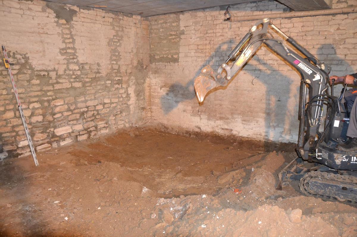 Excavation pour réalisation du complexe hérisson et dalle