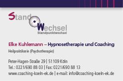 Visitenkarte Elke Kuhlemann Heilpraktikerin für Psychotherapie Hypnosetherapie und Coaching Köln