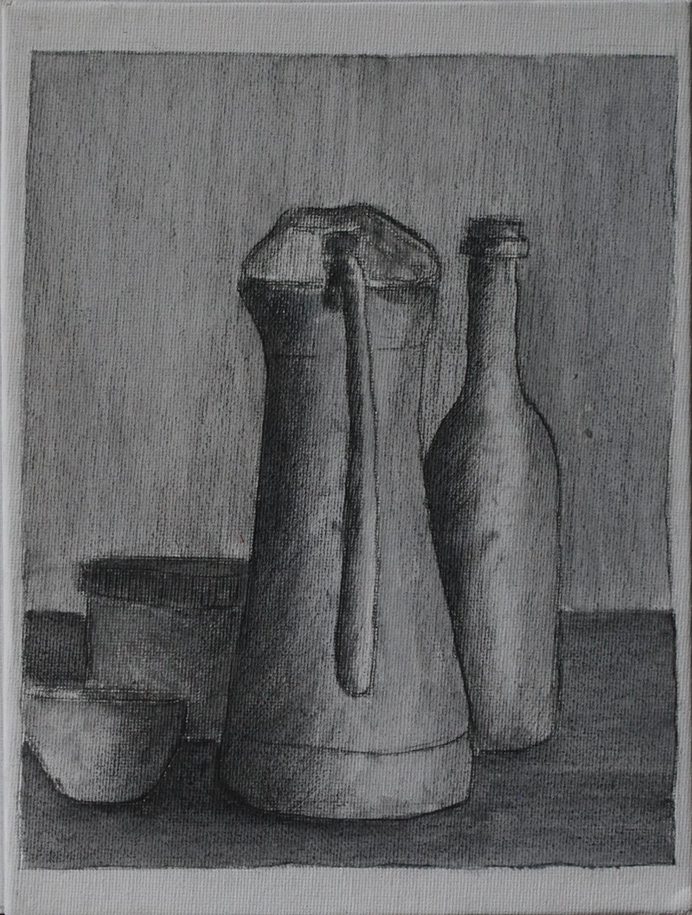 Omaggio a Morandi. Matita e acrilico su cartone telato (24 cm x 18 cm)