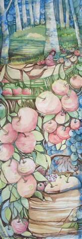 # 11 ABONDANTE récolte aquarelle 11 x  30 pouces encadrées $440.00 CAD