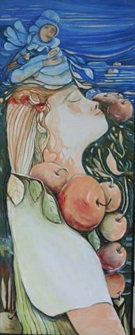 # 133 L'ENFANT PORTEUR DE FRUITS  huile