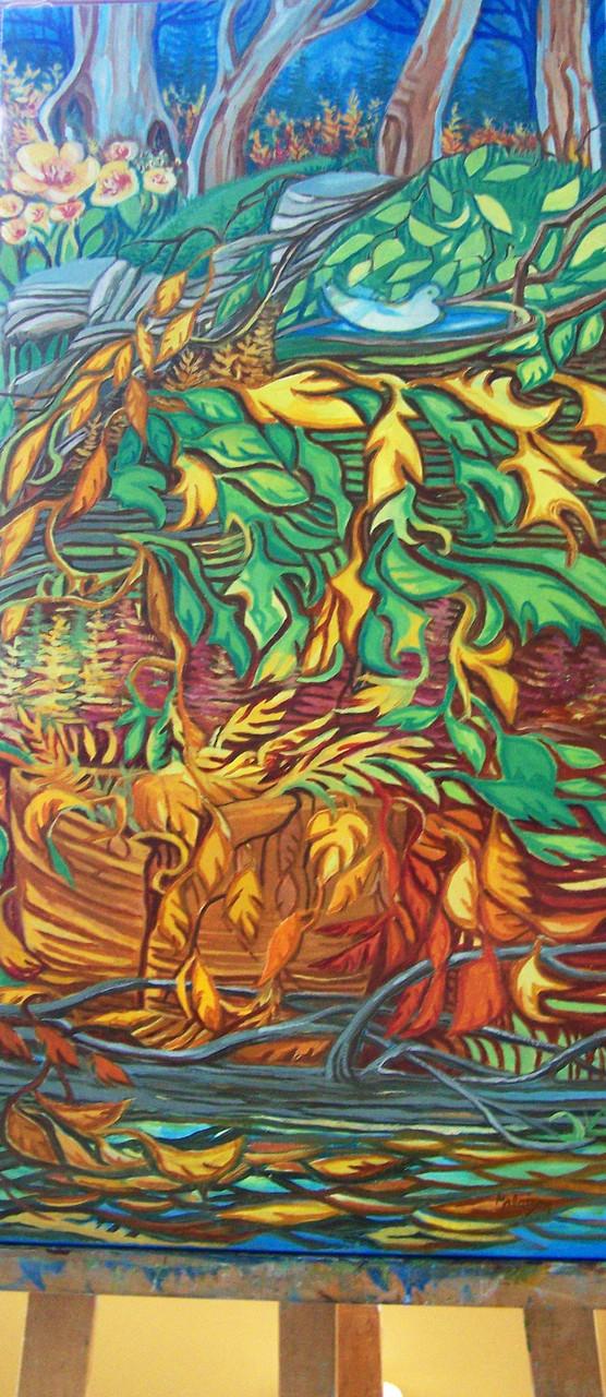 # 178 RENCONTRE DES SAISONS huile 15x30pouces $450.00 CD