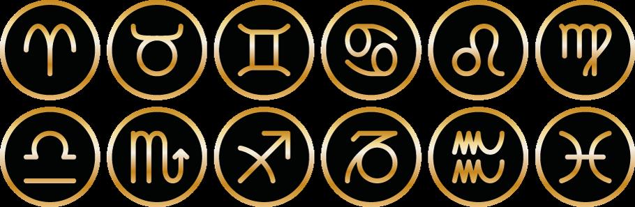 Symbole von Tomas Kalpa der 12 Sternzeichen Widder, Stier, Zwillinge, Krebs, Löwe, Jungfrau, Waage, Skorpion, Schütze, Steinbock, Wassermann und Fische