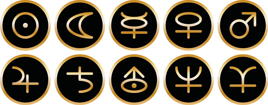 Symbole von Tomas Kalpa von Sonne, Mond, Merkur, Venus, Erde, Mars, Jupiter, Saturn, Uranus, Neptun und Pluto
