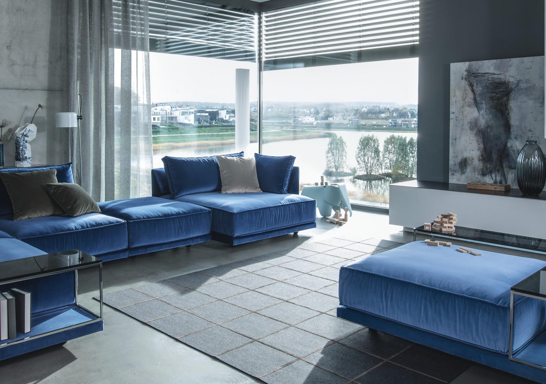 Modern wohnen mit Textil und Filz-Teppich