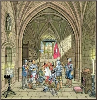 Chapelle castrale Sainte-Catherine, Château des Baux-de-Provence, Alpilles (13) gravure panneau château