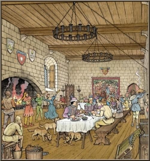 Repas au Château des Baux-de-Provence, Alpilles (13) - gravure panneau château