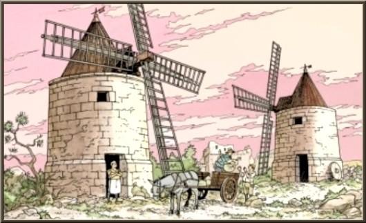 Moulins à vent, Château des Baux-de-Provence, Alpilles (13) - gravure panneau château