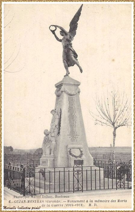 Gujan-Mestras autrefois : avant 1920, le Monument aux Morts, Bassin d'Arcachon (carte postale, collection privée)