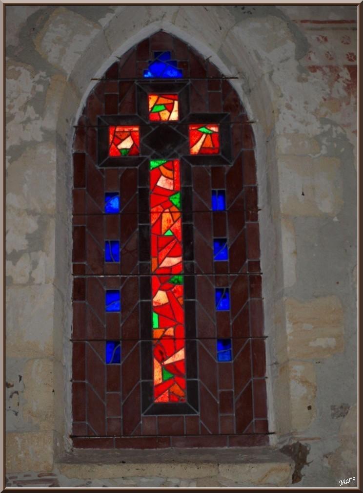 Eglise St Michel du Vieux Lugo à Lugos (Gironde) : vitrail côté Sud