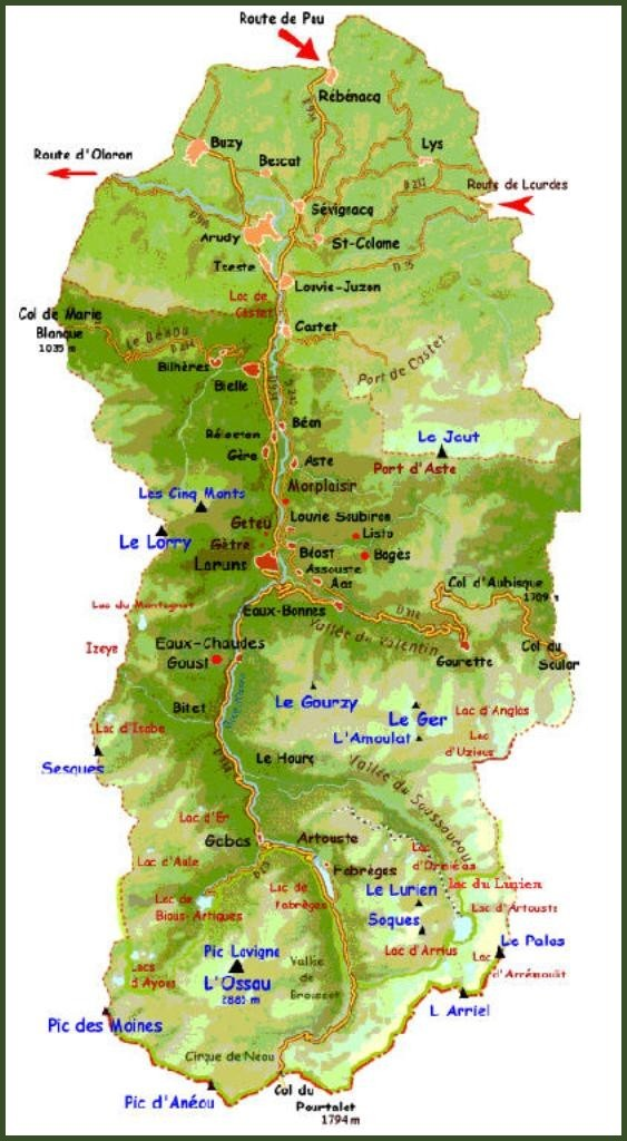 Carte des villages et hameaux de la Vallée d'Ossau (64)