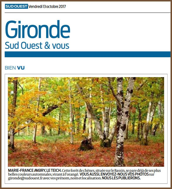 Photo Marinelle sur Journal Sud-Ouest, page Gironde, édition du 13/10/2017
