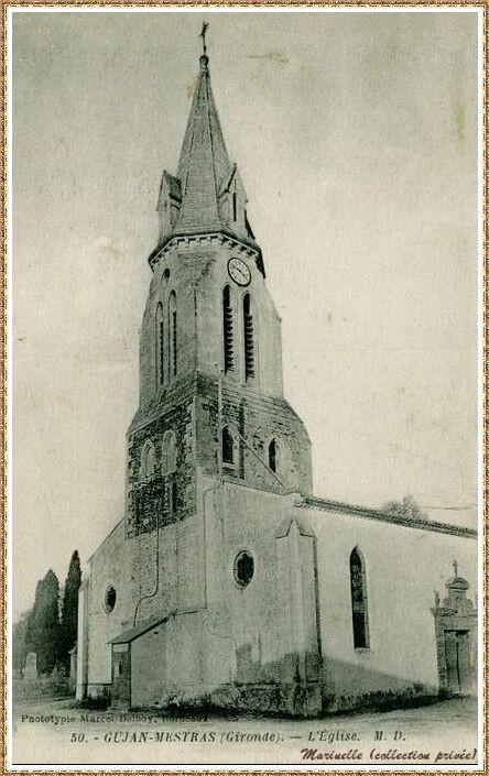 Gujan-Mestras autrefois : vers 1910, l'Eglise Saint Maurice, Bassin d'Arcachon (carte postale, collection privée)