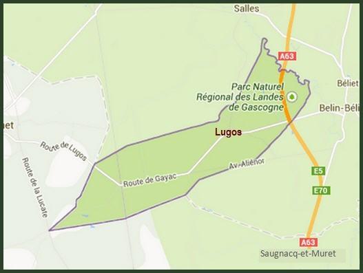 Carte de localisation de la petite commune de Lugos, Gironde