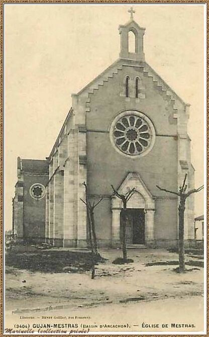ujan-Mestras autrefois : En 1904, la Chapelle Saint Michel, Bassin d'Arcachon (carte postale, collection privée)