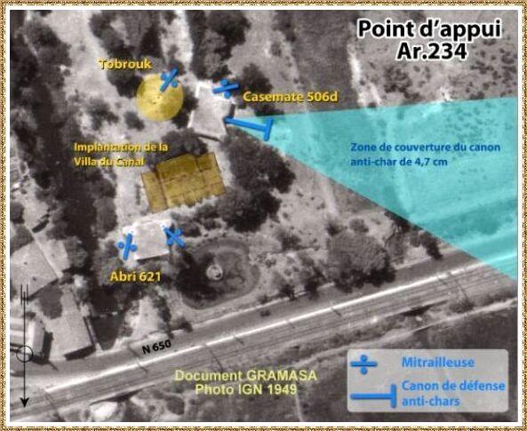 Gujan-Mestras autrefois : La Hume, photo IGN 1949 des emplacements de défense au Domaine du Canal, Bassin d'Arcachon