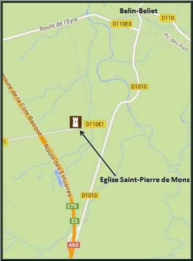 Carte de localisation de l'Eglise St Pierre de Mons et de la fontaine St Clair