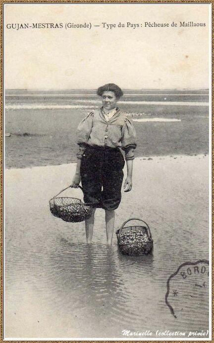 Gujan-Mestras autrefois : Pêcheuse de Maillaous (coques), Bassin d'Arcachon (carte postale, collection privée)