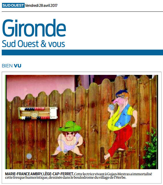 Photo Marinelle sur Journal Sud-Ouest, page Gironde, édition du 28/04/2017