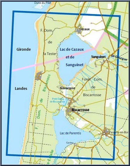 Carte de situation du Lac de Cazaux-Sanguinet