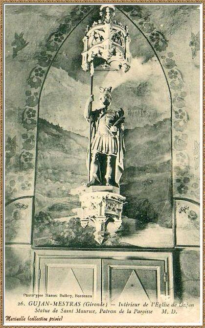 Gujan-Mestras autrefois : en 1909, statue de Saint Maurice (Patron de la Paroisse) à l'intérieur de l'Eglise Saint Maurice, Bassin d'Arcachon (carte postale, collection privée)
