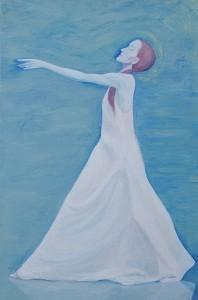 << Hommage à Pina Bausch>>, Grethe KNUDSEN, Acrylique sur toile,195x130cm, 2009,