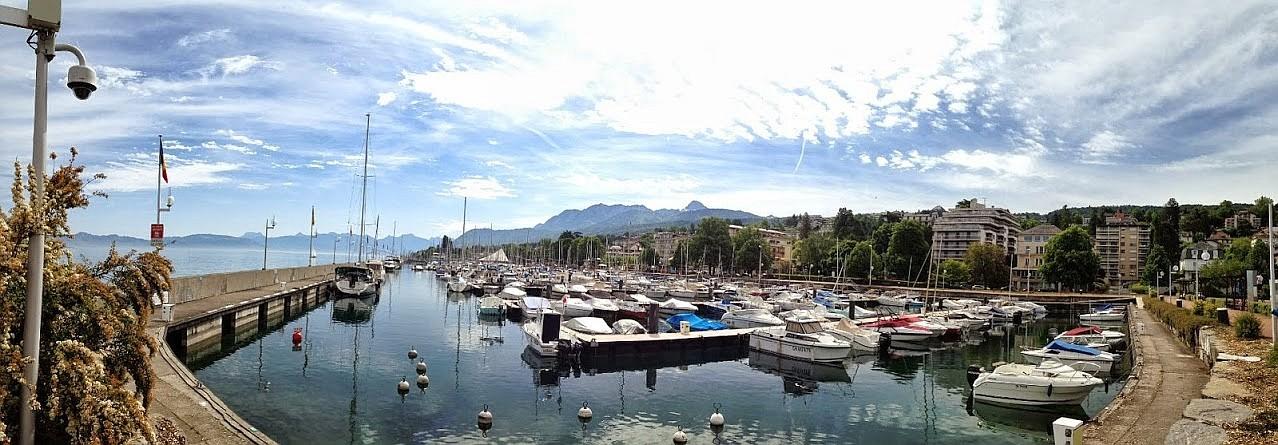 ~ Bild: Pano(d)rama Evian (Hafen) am Genfersee, Schweiz ~